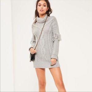 Grey Cable Fringe Sleeve Knitted Mini Dress